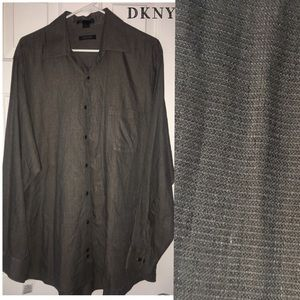 DKNY LONG SLEEVE BUTTON UP dress top XL BROWNS GRY